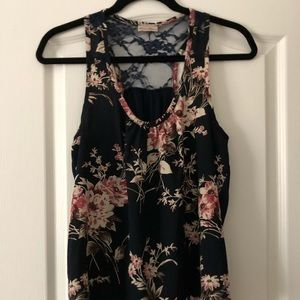 Floral and lace sleeveless top